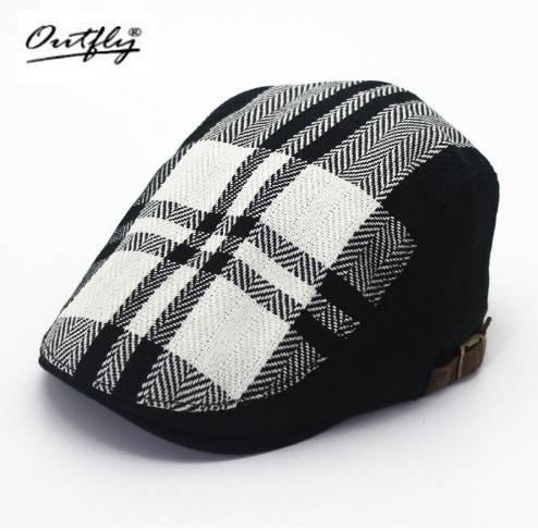 Hemp material black and white checkered beret men male short eaves couple berets hat simple cap classic Retro berets cap homme