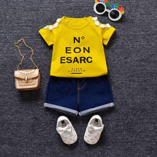 MANJI Bebek Kız Giysileri 1-3y Yaz 2018 Yeni Moda Stil kız Giysileri Coon Kısa Kollu Baskı 18033 Kız giyim seti