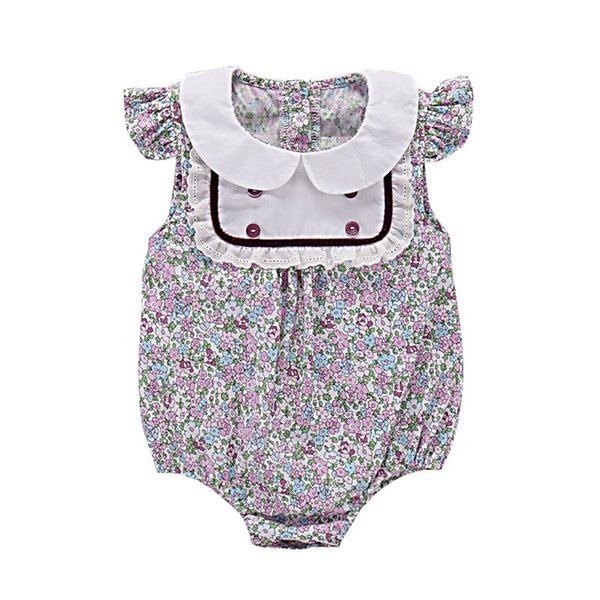 Mikrdoo Baby Girl Sweet Clothes Toddler Sleeveless Peter Pan Collar Romper Cute Floral Printed Jumpsuit For 0-24Months