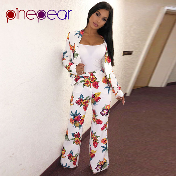 PinePear Women Floral Print OL White Pant Suits 2019 Winter Office Lady Business Formal Party 2 Two Piece Set Matching Outfits