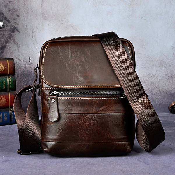 Crazy Horse Natural Cow Leather Casual Multi-funciton Bag Men's Shoulder Messenger Bag Waist Belt Sling Pack Cell Phone Case
