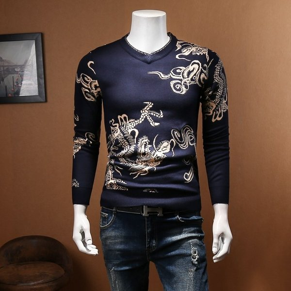 Slim Fit Dragon print Sweater Men Pullover Men Fashion Clothing Pull Homme Plus 4xl 5xl V neck Sweater Slim Sweter Hombre