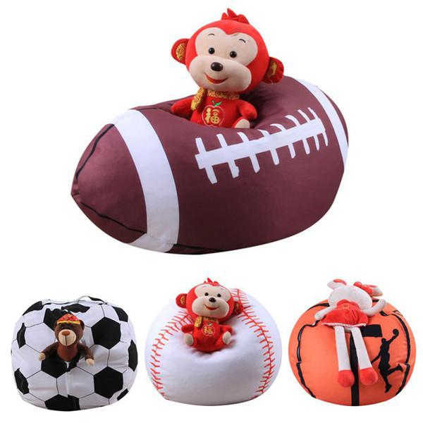 Football Basketball Baseball Storage Bean Bag 26 inch Stuffed Animal Plush Pouch Bag Clothing Laundry Storage Organizer 4 Colors