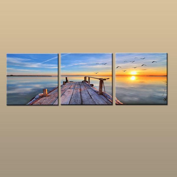 Framed/Unframed Hot Modern Contemporary Canvas Wall Art Print Painting Sunset Seascape Beach Dock Picture 3 piece Living Room Home Decor
