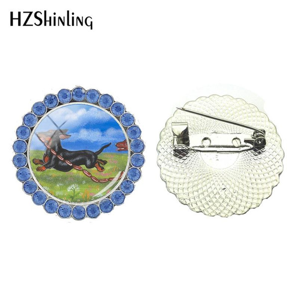 2018 New Cute Dachshund Painting Crystal Brooch Dog Brooches Glass Cabochon Photo Brooch Pin Round Jewelry Clothing Accessories