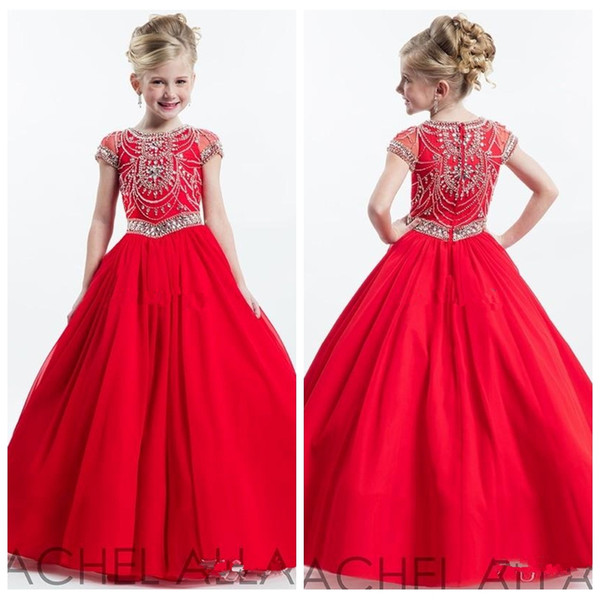 2019 O-Neck Red Junior Girls Pageant Dresses for Teens with Short Sleeve Crew Beading Crystal Cheap Flower Girl Dress Baby Party Gowns