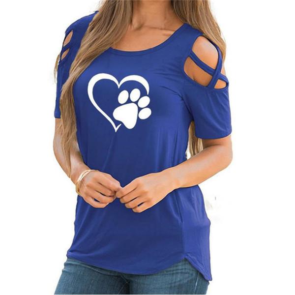 2018 Women's T-Shirt Summer O-Neck Harajuku Tee Soft Love Heart Footprints Printed Short-sleeve Top Bottoming Fashion Tee Shirt