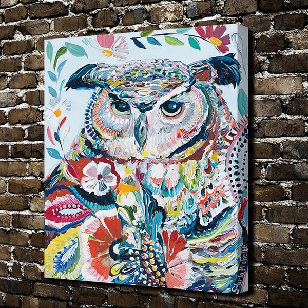 Modern Art Giclee Dazzle Colour Owl Painting Pictures Abstract Art Print on the Canvas Poster Painting Prints Wall Decor Poster