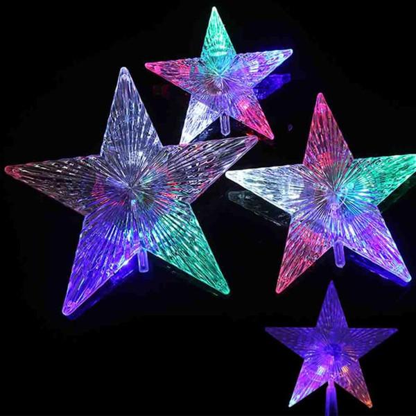 2017 decoración de la fiesta de Navidad accesorios de iluminación estrella de cinco puntas luz superior para árboles de navidad decoración artículos decorativos para el hogar
