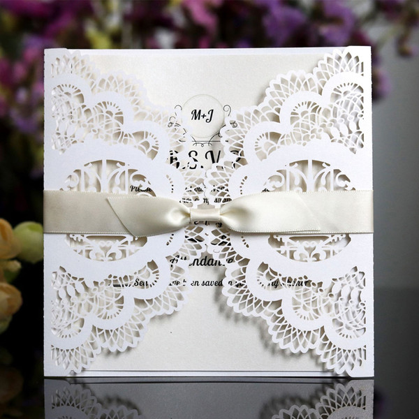 100pcs Laser Cut Wedding Invitations Cards With Flowers 9 colors EngagementPearlescent Invites Card For Wedding Party Birthday Baby Shower