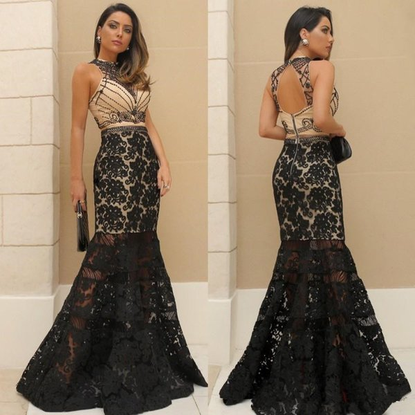 Black Lace Mermaid Prom Pageant Dresses 2019 Modest Jewel full length nude lining Trumpet Beaded Occasion Evening Formal Gown