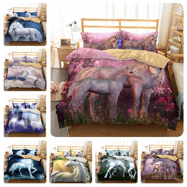 3D Cartoon Unicorn Bedding Sets Flying Horse Pillow Case Quilt Cover Four Piece Suit Polychromatic For Children 90tm9 ff