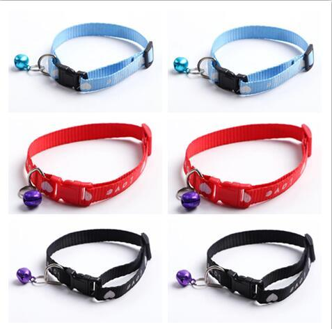 Small dog cat Nylon Dog Puppy Cat Collar Breakaway Adjustable Cats Collars with charm Bell and printing love heart width 1.0cm