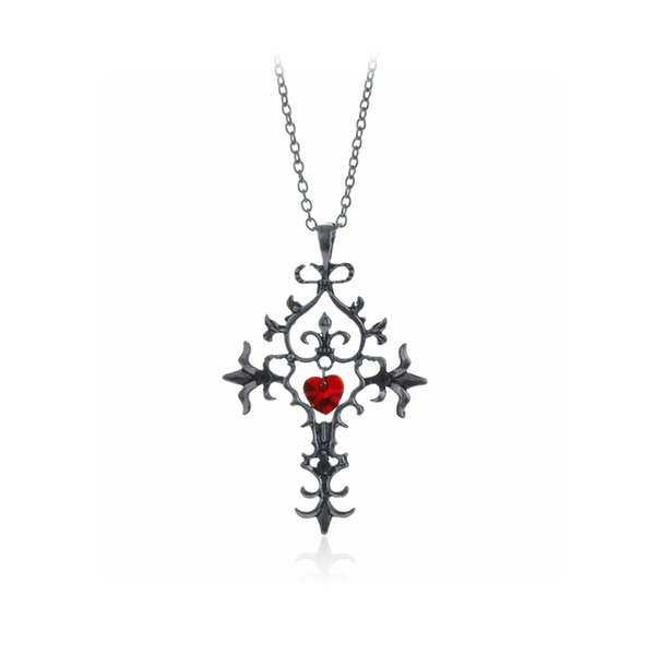 10pcs/lot Vampire Diaries Cross Necklace Sacred Heart Gothic Cross Necklace Emblem Amulet Talisman Charm Sign Sigil Medallion