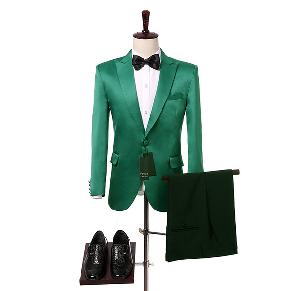 Green Wedding Men Suits 2018 Two Piece Peaked Lapel Slim Fit Groom Tuxedos for Wedding Jacket Pants Foviva Style 09012