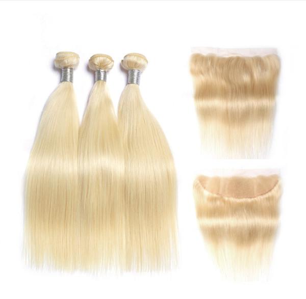 Paquetes de cabello rubio brasileño con encaje Cierre frontal de color 613 Platino cabello humano rubio con 13X4 Frontal de encaje completo