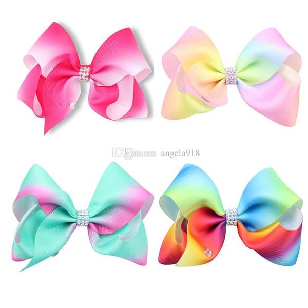 22 Stil schöne Regenbogen Gradienten Kopf Clip Baby Mädchen Kopf Blume Rosa Weihnachten Stirnbänder Bunte Kinder Haarschmuck H078