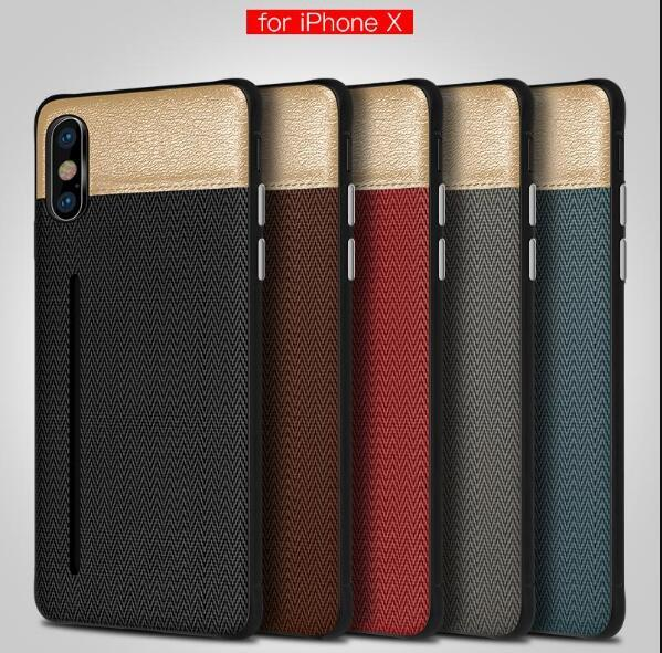 Luxury Fabric Skin Cell Phone Case Credit Card Slots Holder Silicone Hard PC Cases for iphone X 7 8 6 6S plus DHL