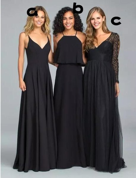 Vintage Country Navy Blue Bridesmaid Dresses 2018 A Line Chiffon Long Cheap Sweetheart Two Pieces Junior Bridesmaids Gowns