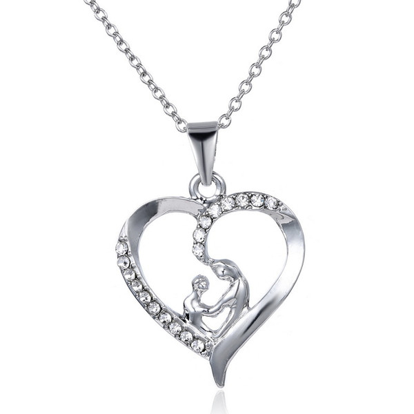 Jewelry Love Heart Necklace, Pendant Necklace with Silver Cubic Zirconia MOM Best Gifts for Women Gift, Graduation Gifts