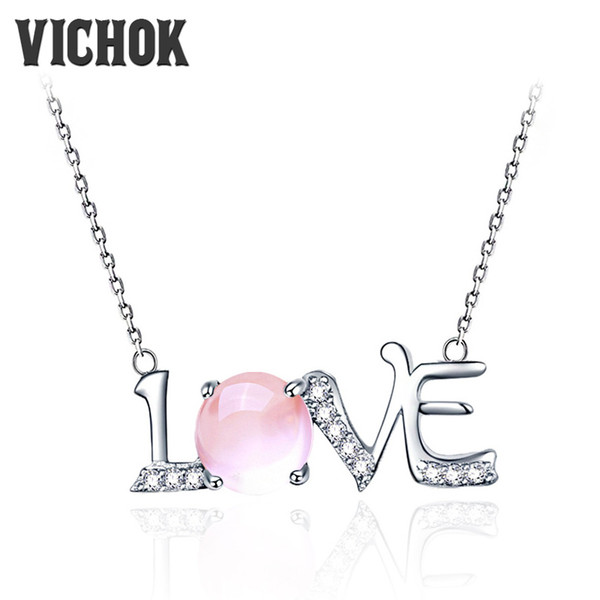 Letter Love Charms Pendants&Necklaces Love Alphabet Chain Necklace for Women Minimalist Silver 925 Sterling Jewelry Fine Jewelry VICHOK