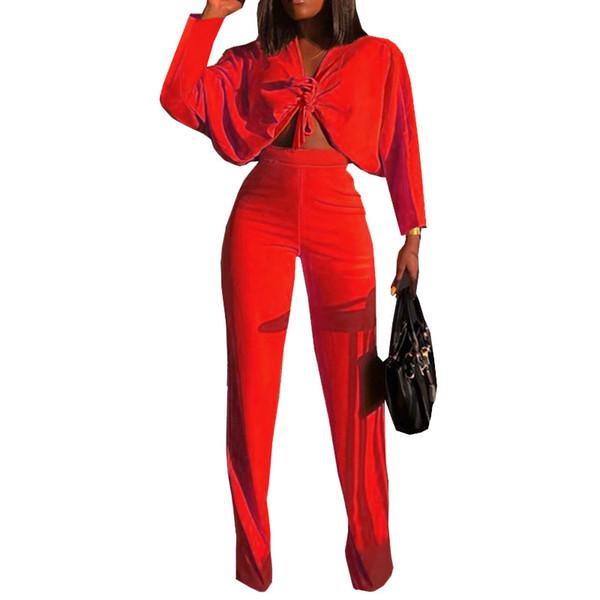 Moda 2018 Casual Vermelho Amarelo Duas Peças de Roupas de Verão Completo Lace Up Top Colheita de Cintura Alta Perna Larga Calça Terno Conjunto de Mulheres Sexy