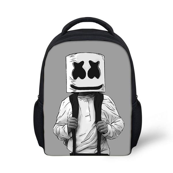 Schule-Beutel-Rucksack für Kinder Marshmello Jungen-Mädchen weiblichen Rucksack Druck Schulranzen School Supplies Lässige Mask DJ Satchel