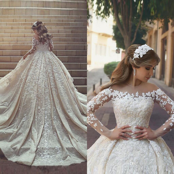 best selling 2018 New Gorgeous Sheer Neck Lace Wedding Dresses Long train Long Sleeves Crystals Ruffles Appliques Tulle Wedding Dresses