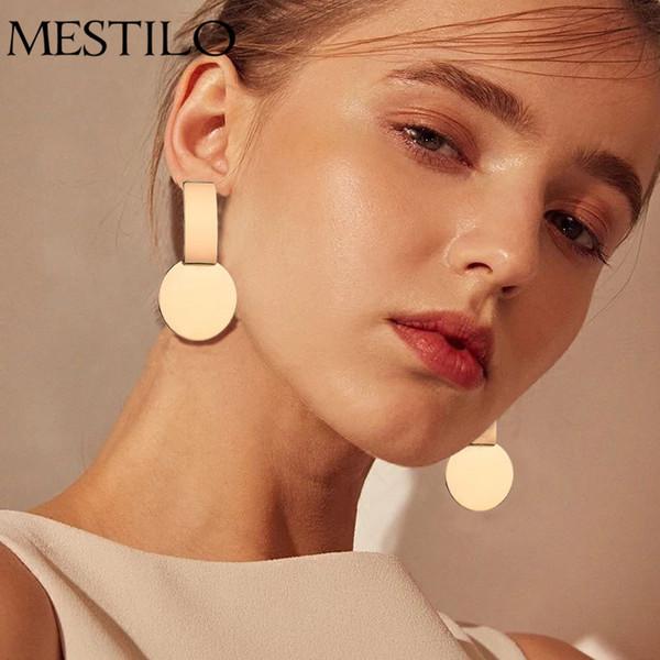 MESTILO Nueva Moda Geométrica Plaza Cuadrada Moneda Pendientes Para Las Mujeres Moda Punky Oro India Larga Pendientes de Gota de La Joyería Brincos