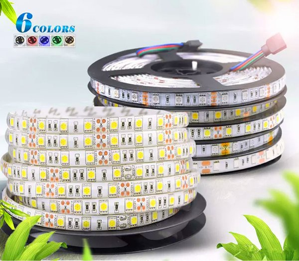 DC 12V 5M 300LED IP65 IP20 non impermeabile 5050 SMD RGB LED Light Strip 3 linee in 1 lampada di alta qualità Nastro per illuminazione domestica