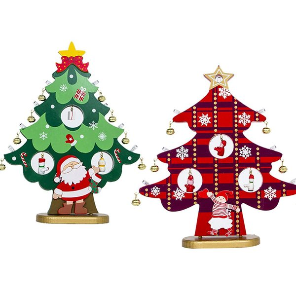 Led Light Up Wooden Christmas Tree Shape Table Decoration Ornament Xmas Gift Hot Holiday Christmas Ornaments Holiday Christmas Window Decorations From