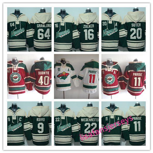 Mens Designer Hoodies Minnesota Wild Hockey Trikots 16 Jason Zucker 40 Devan Dubnyk 22 Nino Niederreiter 9 Mikko Koivu 11 Zach Parise Hoodie
