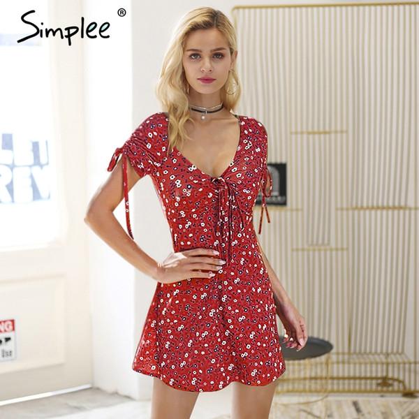 Simplee V neck plum flower print dress women Drawstring lace up mini dress Casual short female summer beach 2018