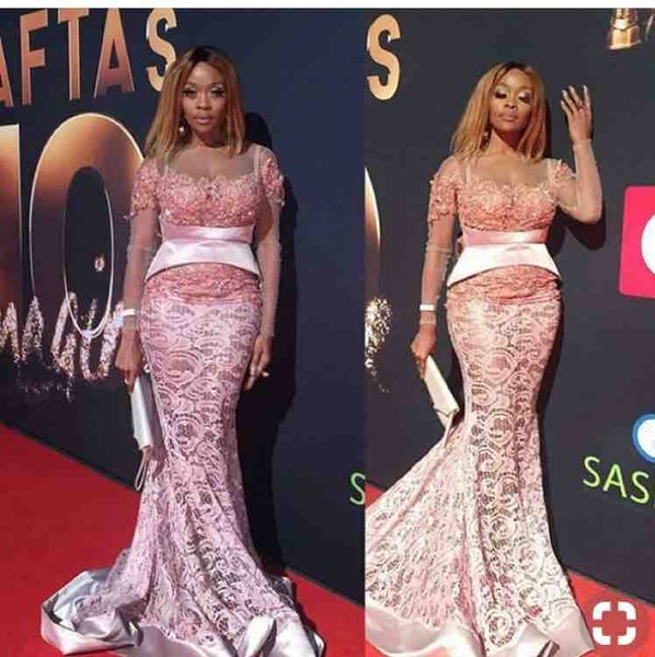 African Long Sleeves Mermaid Prom Dresses 2019 Sheer Neck Custom Made Pink Evening Gowns For Plus Size Celebrity Dress
