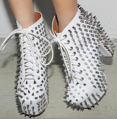Hot 2018 Women Sexy Rock Punk Style Fashion White Black Spikes 12 cm Heel Platform Lace Up Round Toe Ankle Boots Short Booties