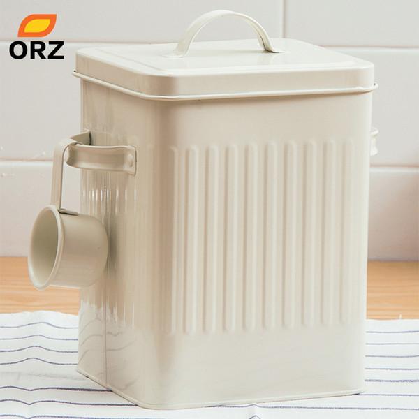 ORZ Kitchen Bathroom Storage Organizer Box 10L Grain Rice Storage Container Laundry Powder Bin Bread Tin with Scoop Home Decor