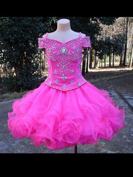 Fashion Cold Shoulder Girls Vestidos de disfraces Hot Pink Ball Dress Cupcake Para Niños Niños Organza Bling Rhinestones Flor Girls Dress Barato