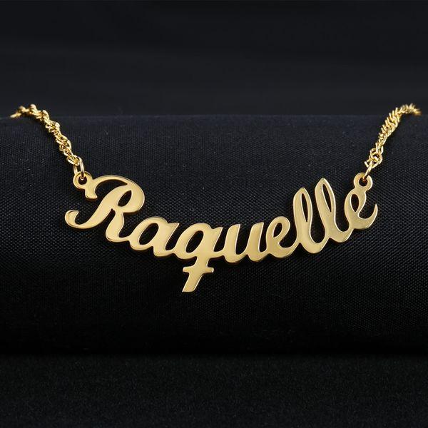 Personalizado Nombre de la Fuente Collar de Encanto Personalizado Personalizado A Mano Placa de Nombre Colgantes Collares Enlace Cadena de Joyería de Las Mujeres Regalo
