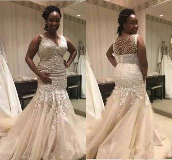 Abiti da sposa sexy a sirena scollo a V drappeggiato drappeggiato in tulle con perline di tulle con appliqued Abiti da sposa africani
