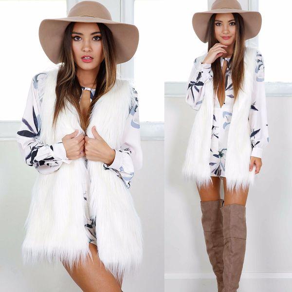 Femmes D'hiver Automne Chaud En Fausse Fourrure Gilet Solide Sans Manches Manteau Survêtement Cheveux Veste Gilet Plus La Taille