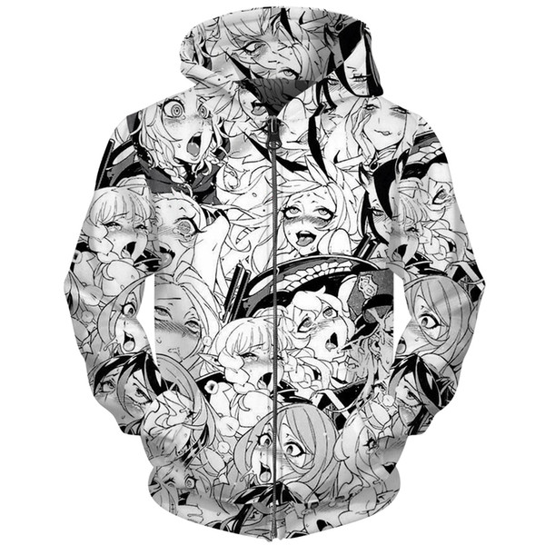 Cloudstyle Ahegao Girl Anime 3D Men Hoodies Zip Up Cartoon Design Streetwear Casual Hoody Jacket Men Women Outwear Plus Size 5XL
