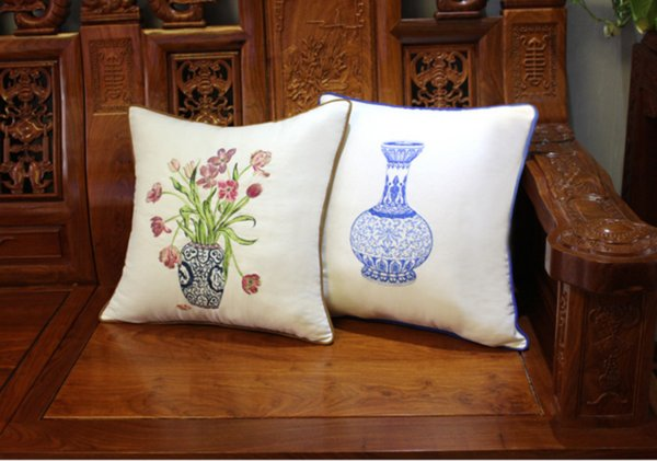 Home Textile Products Chinese Blue And White Porcelain Embroidery Sofa Waist Pillow Square Cotton Material Free Shipping