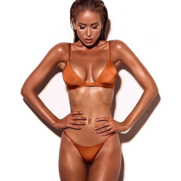 Maternity Velvet Thong Bikinis Sets Golden Grassgreen Swimwear Women Swimsuit Brazilian Beach Wear Bathing Suit High Quality