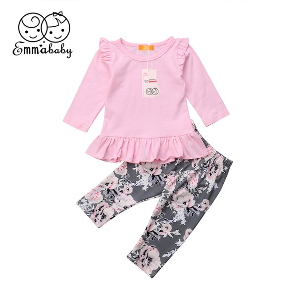 Autumn Newborn Baby Girl Clothes Set Long Sleeve Ruffles Top T-Shirt Floral Panties Pants Outfit Toddler Kid Sleepwear Pajamas
