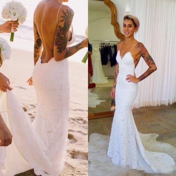 Estilo sexy 2019 Verano Vestidos de boda en la playa Correas de espagueti Sin respaldo Vestidos de novia de encaje moderno Diseño moderno Por encargo