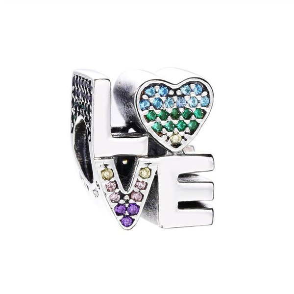 New Authentic 925 Sterling Silver Multi-Color Love Charm, Multi-Colored CZ Beads Fit Pandora Charms Bracelet DIY Jewelry Making