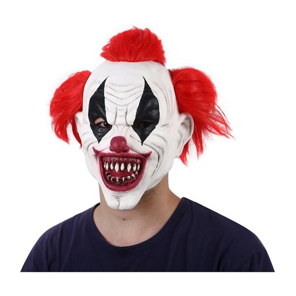 Halloween masque de clown effrayant avec des cheveux jaunes pour les adultes Masques Masque de zombie en décomposition Latex Pennywise effrayant masque de 3/4 Clown