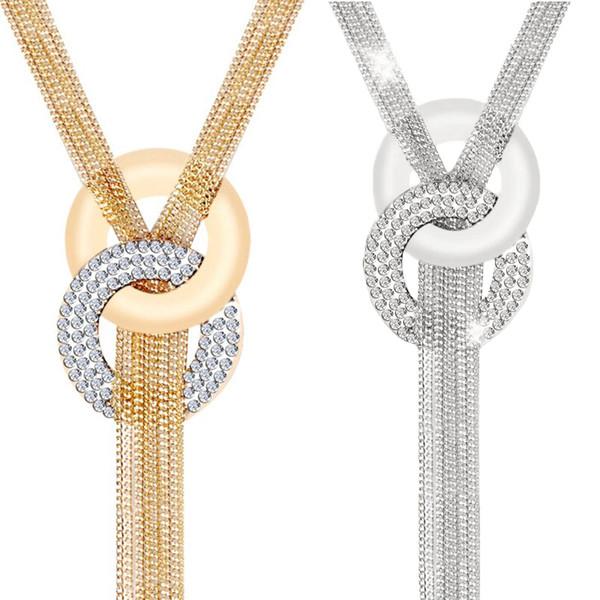 LNRRABC 2018 NEW Zinc Alloy Gold Silver Tassel Crystal Women Long Pendant Necklace Sweater Chain Fashion Jewelry