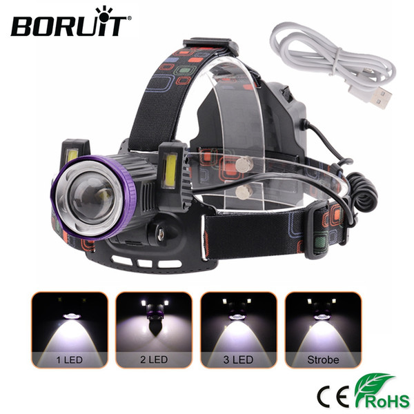 BORUiT Waterproof LED Headlamp XML T6+COB Headlight USB Rechargeable Head Torch Camping  Fishing Hunting Lantern
