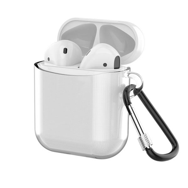 Estuche para AirPods con cubierta protectora transparente de TPU con cierre de seguridad para iPhone 7 8 x accesorios para auriculares inalámbricos con paquete al por menor